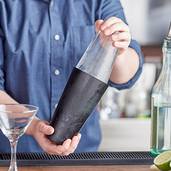 Choice 2-Piece Boston Shaker Set with 16 oz. Mixing Glass and 28 oz. Black Matte Full Size Tin Main Image 2