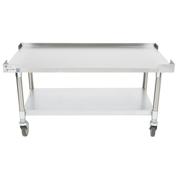 "APW Wyott HDS-72C 72"" x 30"" Heavy Duty Cookline Equipment Stand with Galvanized Undershelf and Casters"