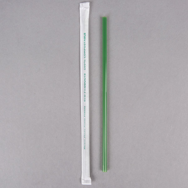 """Wrapped and Renewable Clear Eco-Products 7.75/"""" Drinking Straws 400 per pack"""