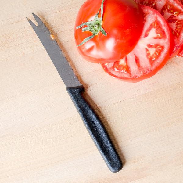 "Victorinox 47506 4 1/4"" Serrated Edge Tomato Knife with Black Nylon Handle"