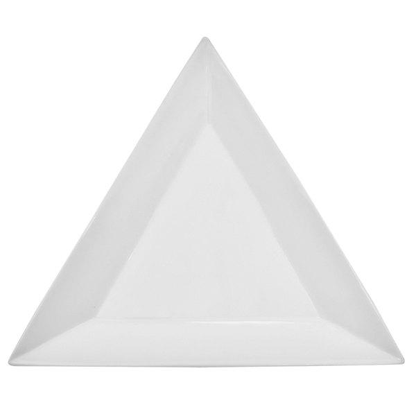 "CAC TUP-25 Triumph 14"" Bright White Triangular Porcelain Plate - 8/Case Main Image 1"