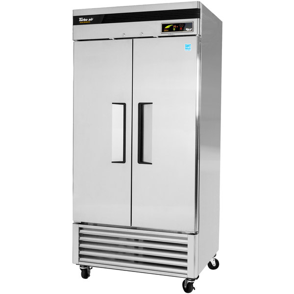 "Turbo Air TSR-35SD 40"" Super Deluxe Two Section Solid Door Reach in Refrigerator - 29 Cu. Ft."