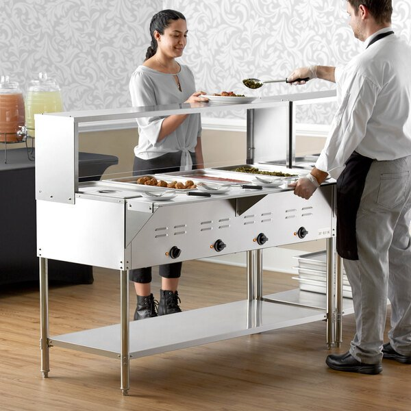 Avantco STE-4SGH Four Pan Open Well Electric Steam Table with Undershelf, Overshelf, and Sneeze Guard - 208/240V, 3000W Main Image 6