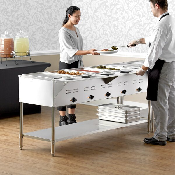 Avantco STE-5S Five Pan Open Well Electric Steam Table with Undershelf - 208/240V, 3750W Main Image 5