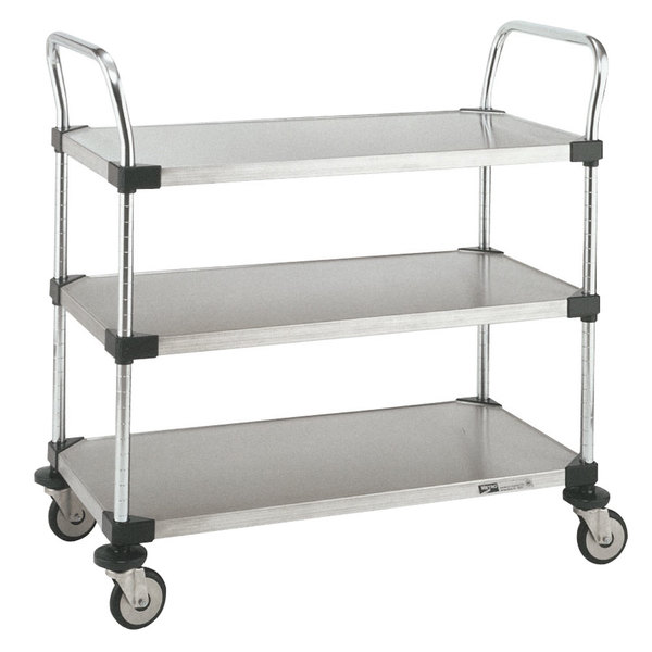 "Metro MW205 Super Erecta 18"" x 36"" x 38"" Three Shelf Standard Duty Stainless Steel Utility Cart Main Image 1"