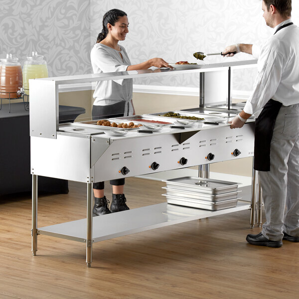 Avantco STE-5SG Five Pan Open Well Electric Steam Table with Undershelf, Overshelf, and Sneeze Guard - 208/240V, 3750W Main Image 6