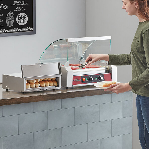 Grand Slam 24 Hot Dog Roller Grill with Glass Sneeze Guard and 16-24 Bun Warmer Main Image 4