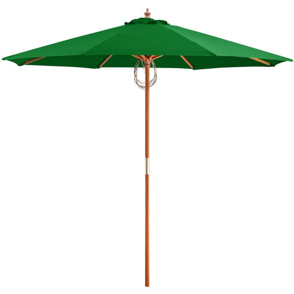 """Lancaster Table & Seating 9' Hunter Green Pulley Lift Umbrella with 1 1/2"""" Hardwood Pole Main Image 1"""