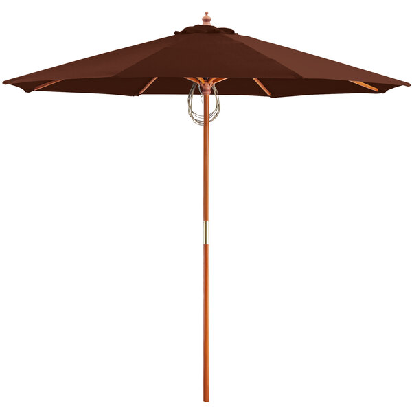 """Lancaster Table & Seating 9' Terracotta Pulley Lift Umbrella with 1 1/2"""" Hardwood Pole Main Image 1"""