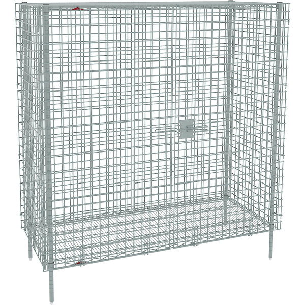 "Metro SEC56S Stainless Steel Stationary Wire Security Cabinet 62 1/2"" x 27 1/4"" x 66 13/16"""