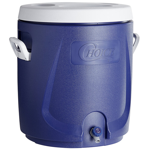 Choice 14.5 Gallon Blue Round Insulated Beverage Dispenser / Portable Water Cooler Main Image 1
