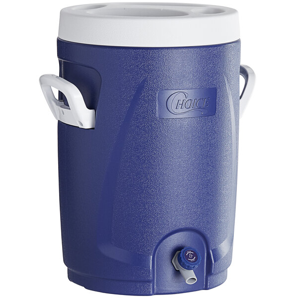 Choice 5.3 Gallon Blue Round Insulated Beverage Dispenser / Portable Water Cooler Main Image 1