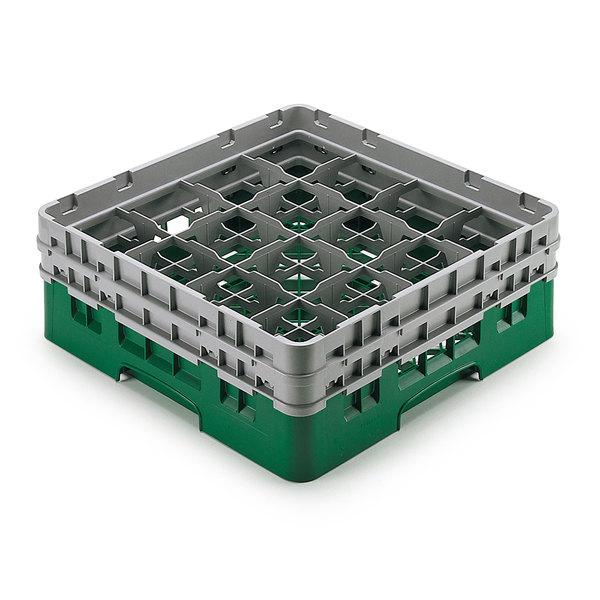 "Cambro 16S958-119 Camrack Customizable 10 1/8"" High Customizable Green 16 Compartment Glass Rack"