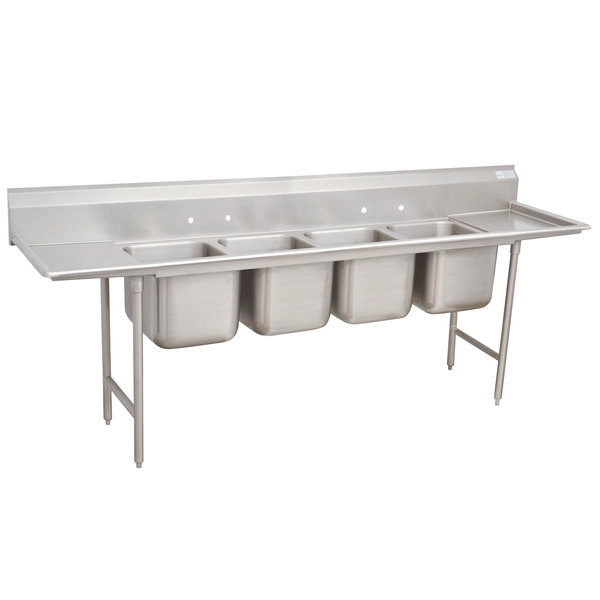 """Advance Tabco 93-4-72-18RL Regaline Four Compartment Stainless Steel Sink with Two Drainboards - 110"""""""