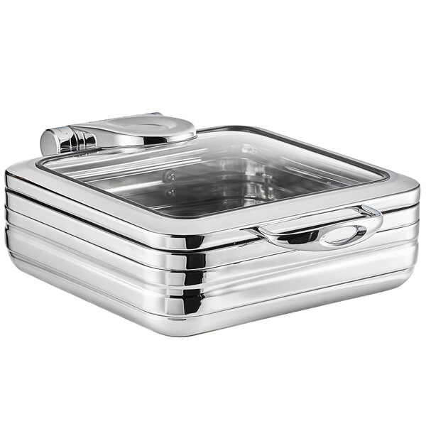 Acopa Manchester 6 Qt. 2/3 Size Stainless Steel Induction Chafer with Glass Top and Soft Close Lid Main Image 1
