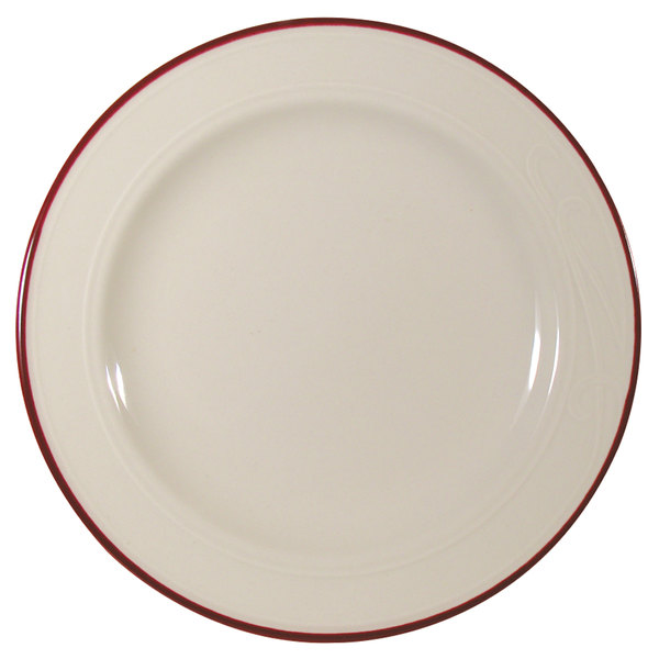 """Homer Laughlin 1613605 Lyrica Lydia Maroon 7 1/4"""" Off White China Plate - 36/Case"""