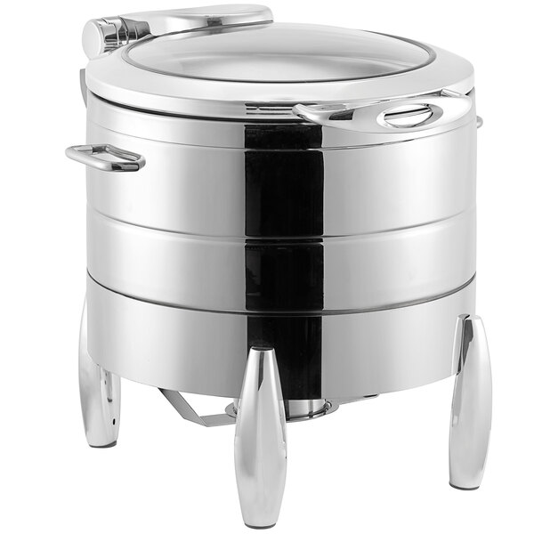Acopa Manchester 11 Qt. Soup Stainless Steel Induction / Traditional Dual Purpose Chafer with Glass Top, Soft Close Lid, and Stand with Fuel Holder Main Image 1