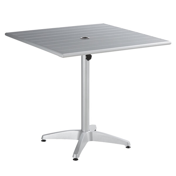 """Lancaster Table & Seating 36"""" x 36"""" Silver Powder-Coated Aluminum Dining Height Outdoor Table with Umbrella Hole Main Image 1"""