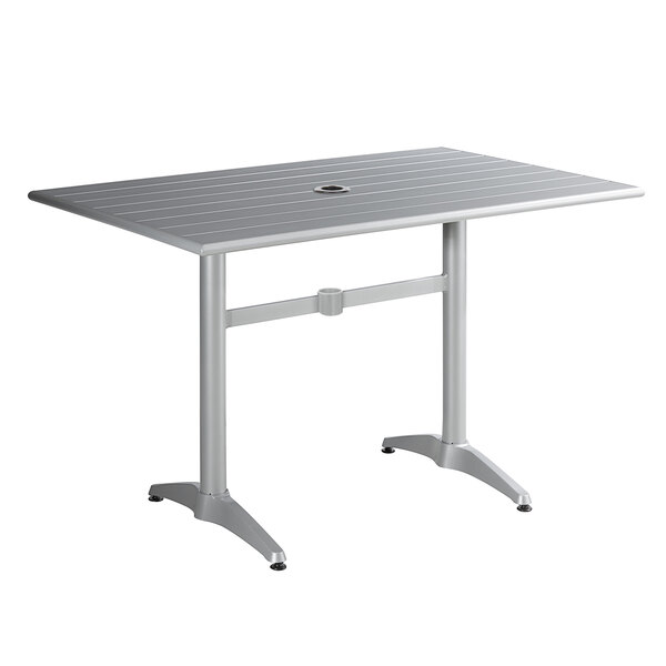 """Lancaster Table & Seating 32"""" x 48"""" Silver Powder-Coated Aluminum Dining Height Outdoor Table with Umbrella Hole Main Image 1"""
