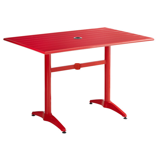 """Lancaster Table & Seating 32"""" x 48"""" Red Powder-Coated Aluminum Dining Height Outdoor Table with Umbrella Hole Main Image 1"""