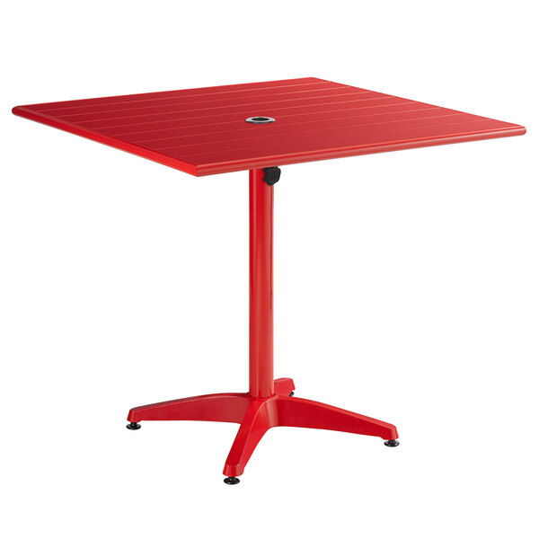 """Lancaster Table & Seating 36"""" x 36"""" Red Powder-Coated Aluminum Dining Height Outdoor Table with Umbrella Hole Main Image 1"""