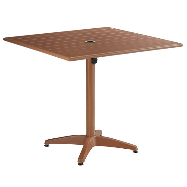 """Lancaster Table & Seating 36"""" x 36"""" Brown Powder-Coated Aluminum Dining Height Outdoor Table with Umbrella Hole Main Image 1"""