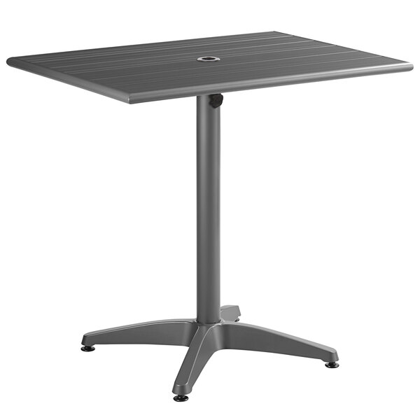 """Lancaster Table & Seating 24"""" x 32"""" Gray Powder-Coated Aluminum Dining Height Outdoor Table with Umbrella Hole Main Image 1"""