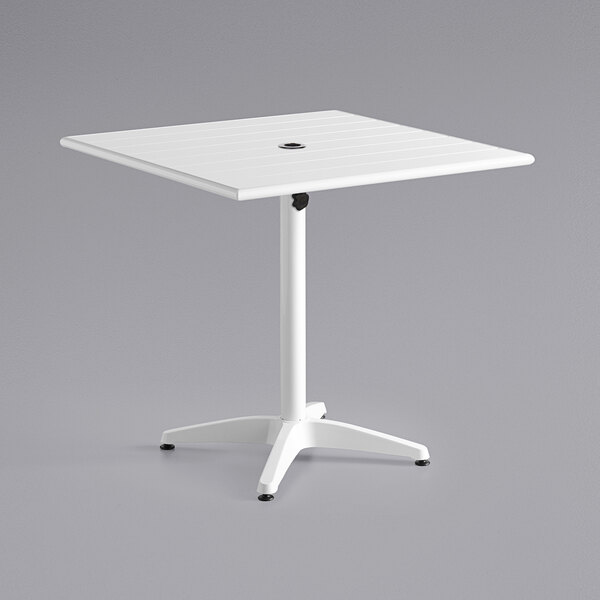 """Lancaster Table & Seating 32"""" x 32"""" White Powder-Coated Aluminum Dining Height Outdoor Table with Umbrella Hole Main Image 1"""