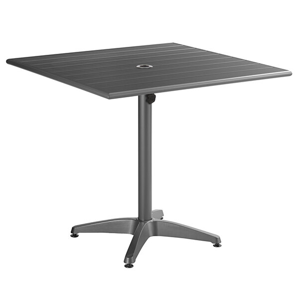 """Lancaster Table & Seating 36"""" x 36"""" Gray Powder-Coated Aluminum Dining Height Outdoor Table with Umbrella Hole Main Image 1"""