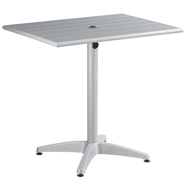"""Lancaster Table & Seating 24"""" x 32"""" Silver Powder-Coated Aluminum Dining Height Outdoor Table with Umbrella Hole Main Image 1"""