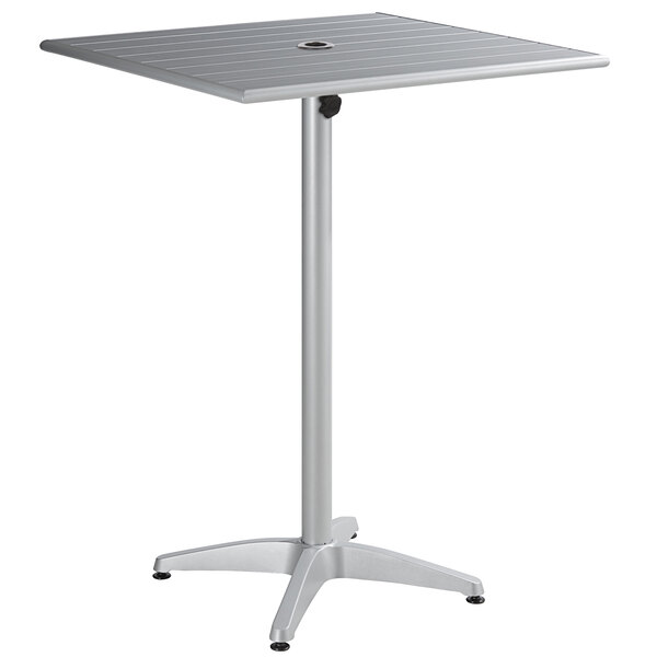 """Lancaster Table & Seating 32"""" x 32"""" Silver Powder-Coated Aluminum Bar Height Outdoor Table with Umbrella Hole Main Image 1"""