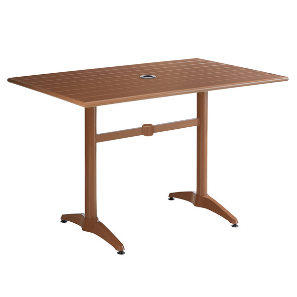 """Lancaster Table & Seating 32"""" x 48"""" Brown Powder-Coated Aluminum Dining Height Outdoor Table with Umbrella Hole Main Image 1"""
