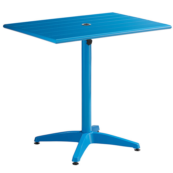 """Lancaster Table & Seating 24"""" x 32"""" Blue Powder-Coated Aluminum Dining Height Outdoor Table with Umbrella Hole Main Image 1"""