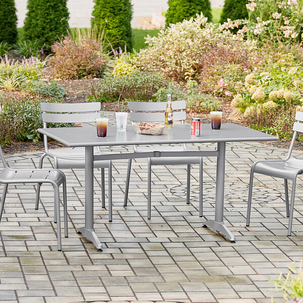 """Lancaster Table & Seating 32"""" x 60"""" Silver Powder-Coated Aluminum Dining Height Outdoor Table with Umbrella Hole Main Image 4"""