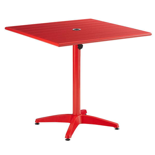 """Lancaster Table & Seating 32"""" x 32"""" Red Powder-Coated Aluminum Dining Height Outdoor Table with Umbrella Hole Main Image 1"""
