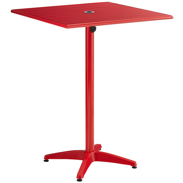 """Lancaster Table & Seating 32"""" x 32"""" Red Powder-Coated Aluminum Bar Height Outdoor Table with Umbrella Hole Main Image 1"""