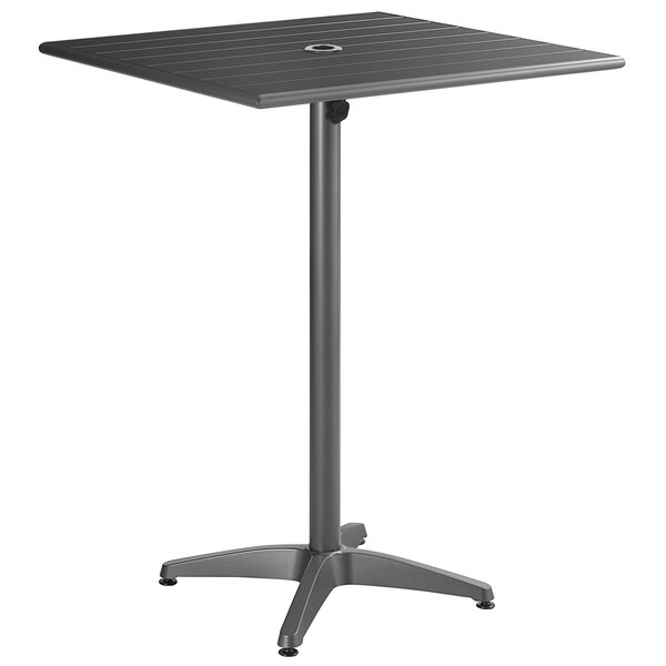 """Lancaster Table & Seating 32"""" x 32"""" Gray Powder-Coated Aluminum Bar Height Outdoor Table with Umbrella Hole Main Image 1"""