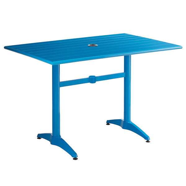 """Lancaster Table & Seating 32"""" x 48"""" Blue Powder-Coated Aluminum Dining Height Outdoor Table with Umbrella Hole Main Image 1"""