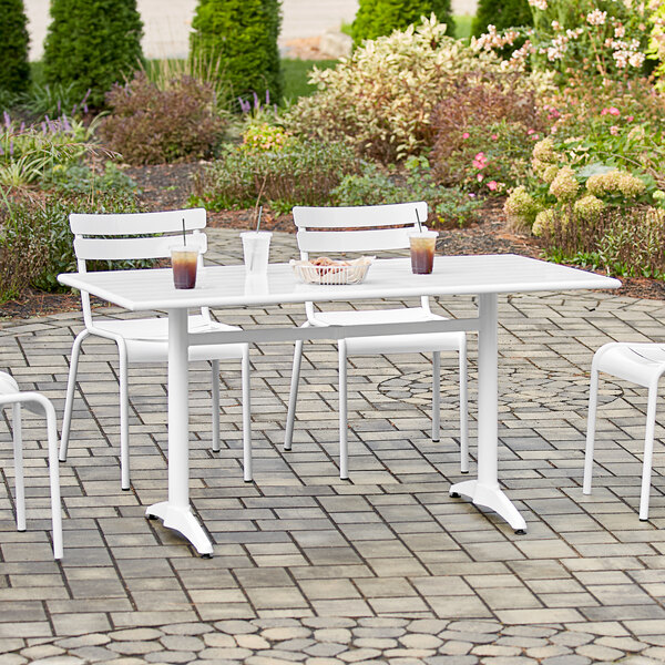 """Lancaster Table & Seating 32"""" x 60"""" White Powder-Coated Aluminum Dining Height Outdoor Table with Umbrella Hole Main Image 4"""
