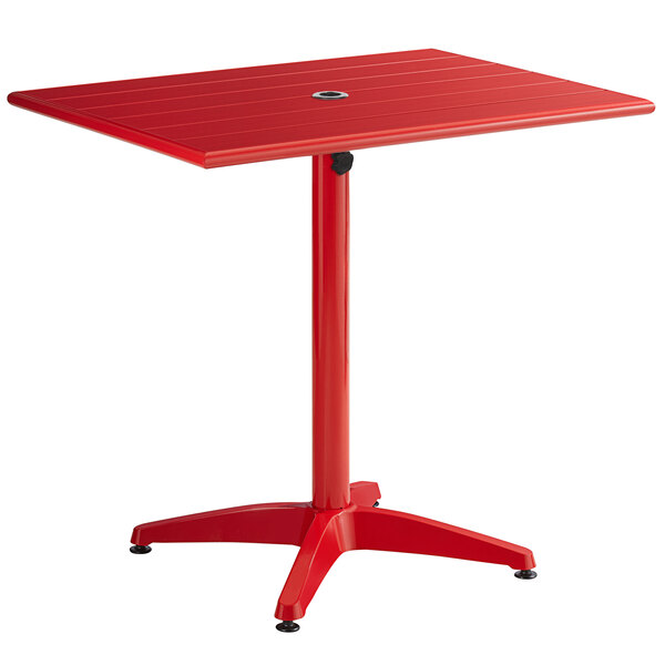 """Lancaster Table & Seating 24"""" x 32"""" Red Powder-Coated Aluminum Dining Height Outdoor Table with Umbrella Hole Main Image 1"""