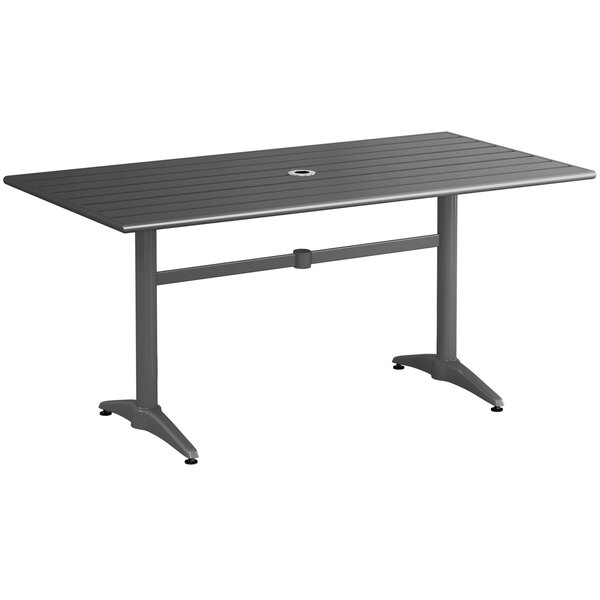 """Lancaster Table & Seating 32"""" x 60"""" Gray Powder-Coated Aluminum Dining Height Outdoor Table with Umbrella Hole Main Image 1"""