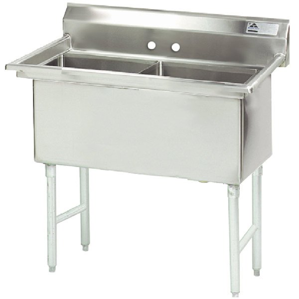 """Advance Tabco FS-2-3024 Spec Line Fabricated Two Compartment Pot Sink - 65"""""""