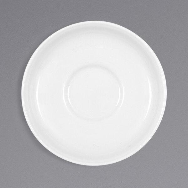 "Bauscher by BauscherHepp 546909 Bonn 4 3/8"" Bright White Round Porcelain Saucer - 36/Case Main Image 1"