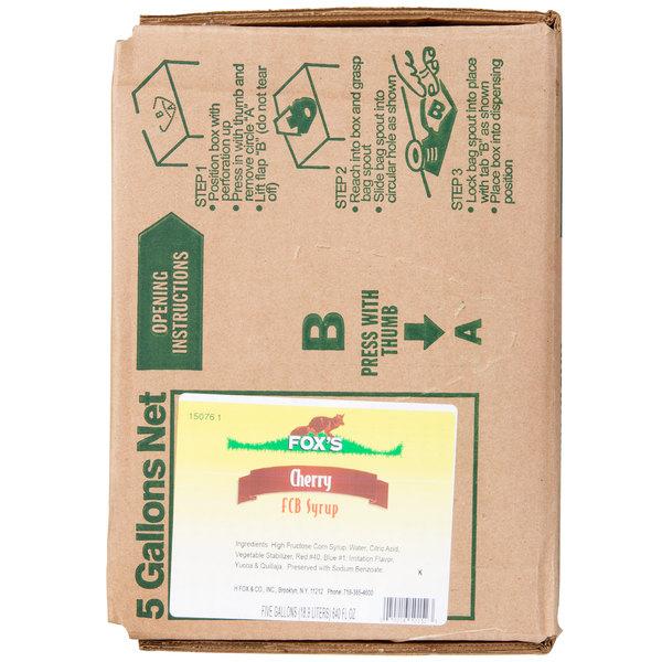 Fox's 5 Gallon Bag In Box Cherry Slush Syrup