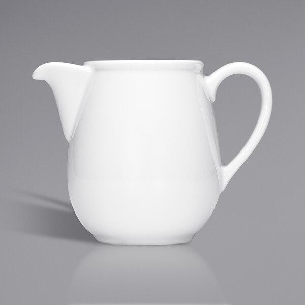 Bauscher by BauscherHepp 544131 Bonn 10.1 oz. Bright White Porcelain Coffee Pot - 12/Case Main Image 1