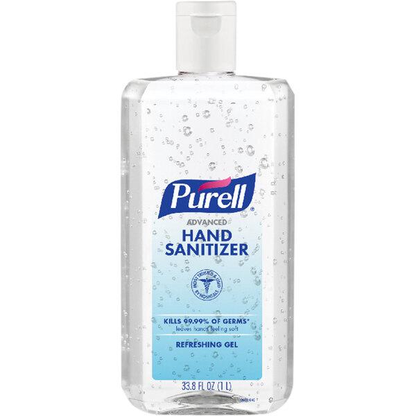 Purell® 9683-04 1 Liter Advanced Hand Sanitizer Refreshing Gel Flip Cap Bottle - 4/Case Main Image 1