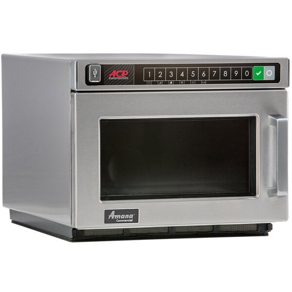 Amana HDC1015 Heavy-Duty Stainless Steel Commercial Microwave with Push Button Controls - 120V, 1000W Main Image 1