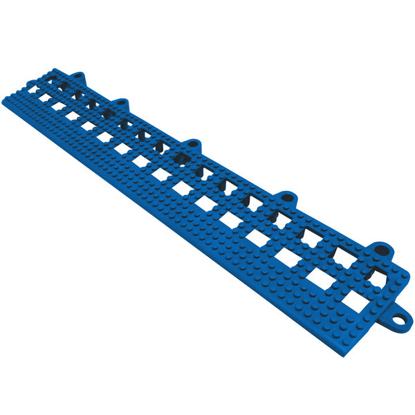 "Cactus Mat 2554-UB Dri-Dek 2"" x 12"" Blue Vinyl Interlocking Beveled Edge Drainage Floor Tile - 9/16"" Thick"