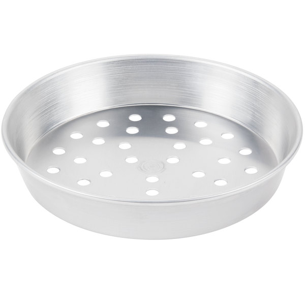 """American Metalcraft PA90091.5 9"""" x 1 1/2"""" Perforated Standard Weight Aluminum Tapered / Nesting Pizza Pan"""