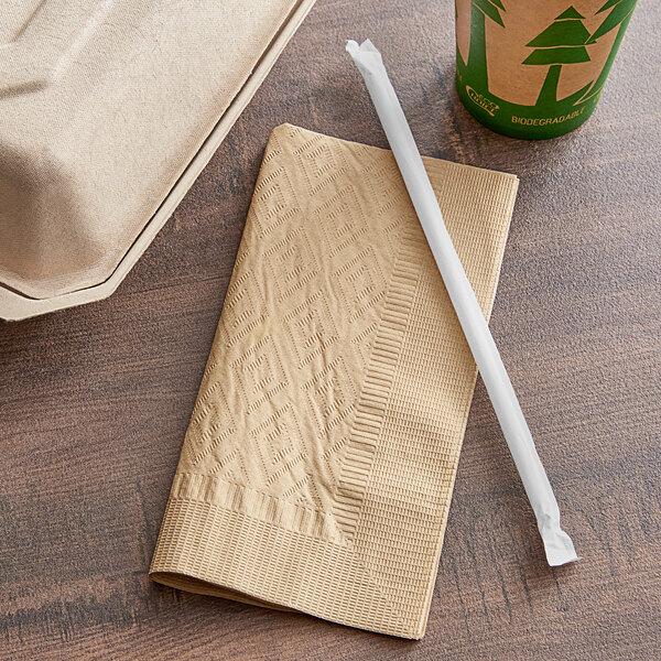 "EcoChoice WrapNap 2-Ply Natural Kraft 1/4 Fold Dinner Napkin 16"" x 16"" - 3000/Case Main Image 3"
